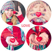 Heart shape love symbol in woman hands Valentines Day holiday romantic greeting people relationship concept collage set — Stockfoto