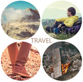 Travel lifestyle concept with mountains and people outdoor vacations collage — Stock Photo