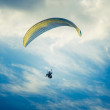 Paragliding extreme Sport with blue Sky and clouds on background Healthy Lifestyle and Freedom concept Summer Vacations — Stock Photo #46014565