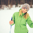 Young Woman with ski happy smiling face winter time snow Skiing Sport and healthy Lifestyle concept — Stock Photo #46016423