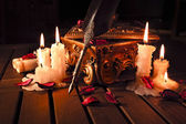 Pen with candles — Stock Photo