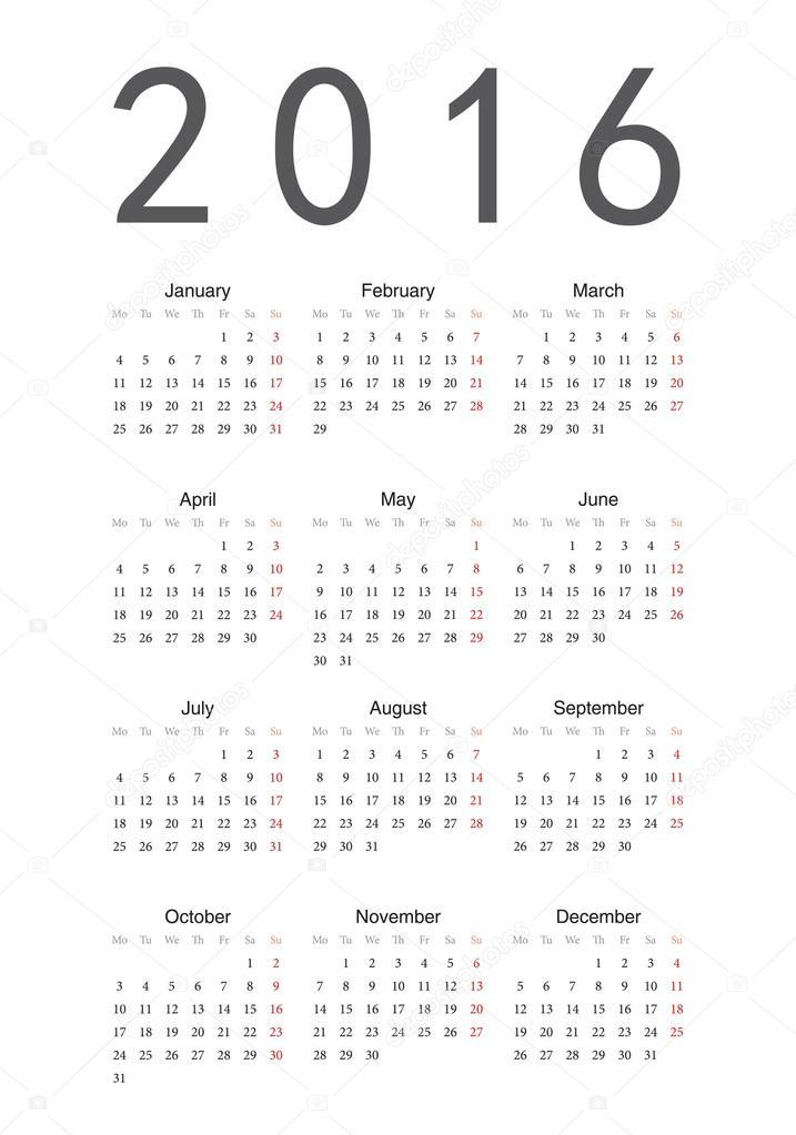 カレンダー 2016年 年間カレンダー : シンプル カレンダー 2016 年 ...