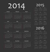 European 2014, 2015, 2016 year vector calendars — Stock Vector