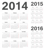 Russian 2014, 2015, 2016 year vector calendars — Stock Vector