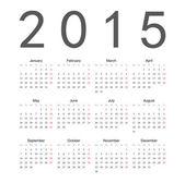 Simple european 2015 year vector calendar — Stock Vector