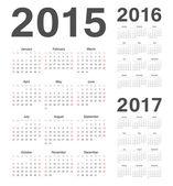 European 2015, 2016, 2017 year vector calendars — Stock Vector