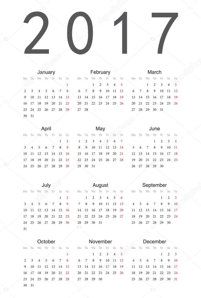 Prosty kalendarz 2017 — Wektor