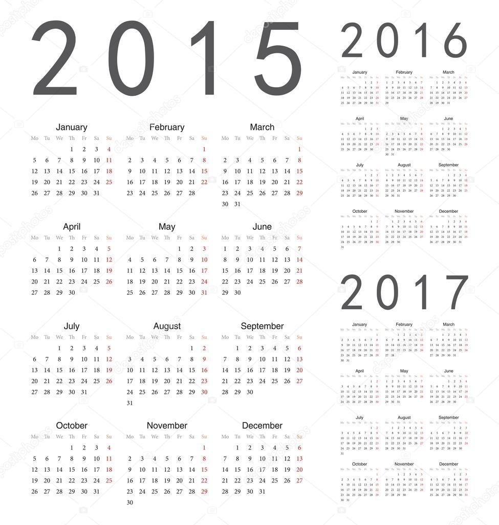 European 2015, 2016, 2017 year vector calendars — Stock Vector ...