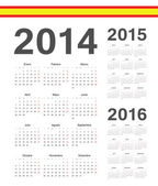 Set of spanish 2014, 2015, 2016 year vector calendars — Stock Vector