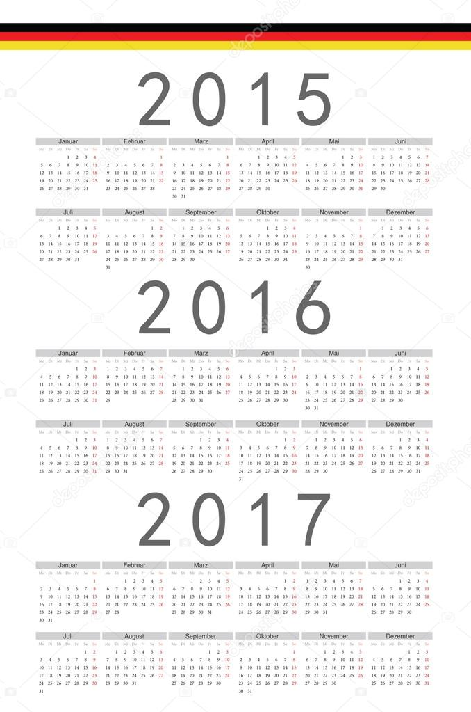 German 2015, 2016, 2017 year vector calendar — Stock Vector ...