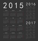 European black 2015, 2016, 2017 year vector calendars — Stock Vector
