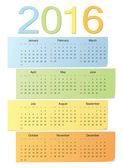 Europeiska färg vektor kalender 2016 — Stockvektor