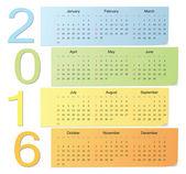 European color vector calendar 2016 — Vecteur
