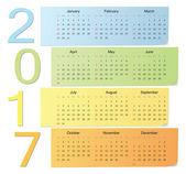 European color vector calendar 2017 — Vecteur