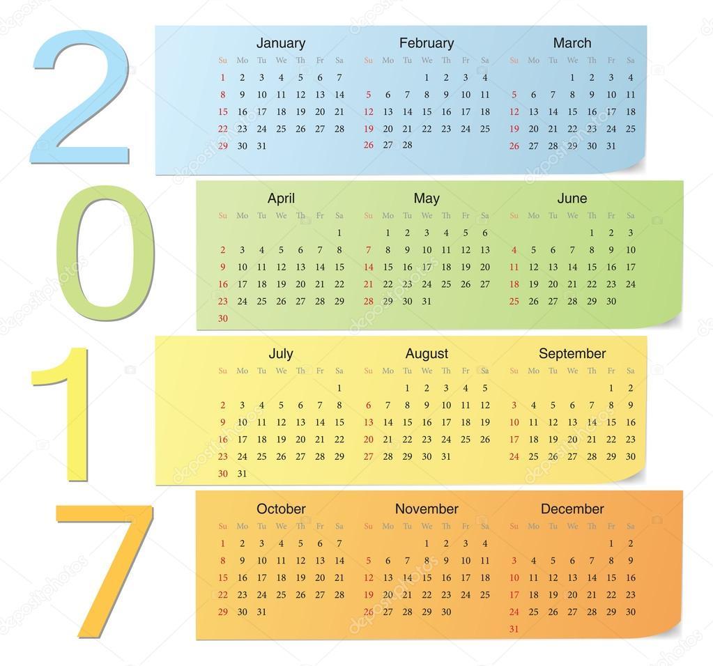 欧洲2017年颜色矢量垂直数字日历