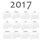 Calendrier de l'année 2017 européen simple vecteur — Vecteur