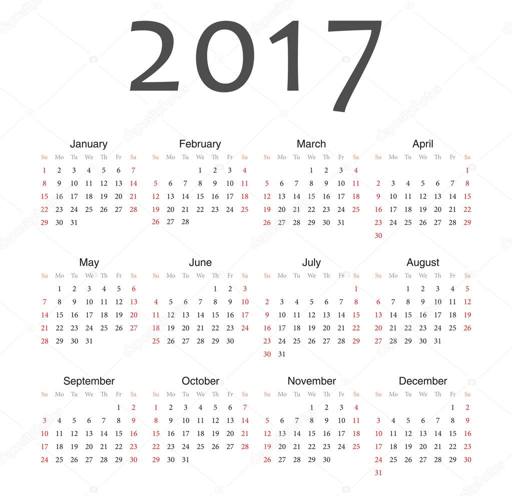 すべての講義 kレンダー : Calendario año 2017 europeo simple vector ...