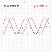 Diagram of functions Sinus and Cosinus — Stockvektor