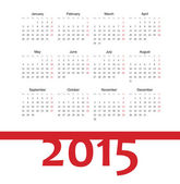 Simple european 2015 year vector calendar — Stockvektor