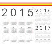Set of spanish 2015, 2016, 2017 year vector calendars — Stock Vector