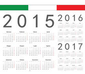 Set of Italian 2015, 2016, 2017 year vector calendars — Stock Vector