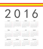 Simple spainish 2016 year vector calendar — Stock Vector