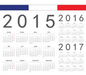 Set of french 2015, 2016, 2017 year vector calendars — Stock Vector