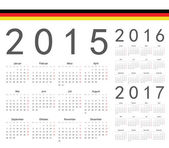Set of German 2015, 2016, 2017 year vector calendars — Stock Vector