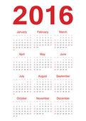 European 2016 year vector calendar — Stock Vector