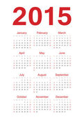 European 2015 year vector calendar — Stock Vector
