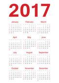 European 2017 year vector calendar — Stock Vector