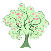 Pretty green tree with pink heart shaped leaves. eps 10 — Stock Vector