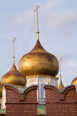 Golden dome Assumption Cathedral in Tula Kremlin walls — Stock Photo