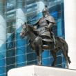 The Bronze Horseman near a government building in Mongolia - Stock Photo