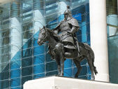 The Bronze Horseman near a government building in Mongolia — Stock Photo