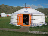 Yurt in the tourist camp in Mongolia — Stock Photo