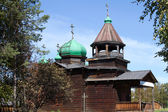 Old wooden church at ethnographic museum Taltsy in Irkutsk Region — Stock Photo