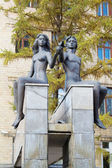 Monument to Adam and Eve in the city of Krasnoyarsk — Stock Photo