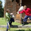 Russian folk amusement - a fight sacks — Stock Photo
