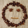 Cheerful smiley of coffee beans — Stock Photo #17348383