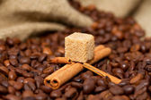 Mountain lake of coffee beans and cinnamon sticks in a boat — Stock Photo