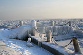 Iced small dock on Lake Baikal in winter — Stock Photo