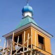 Fragment of an old wooden Orthodox church in Irkutsk — Stock Photo