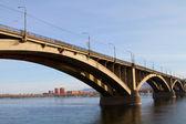 Bridge in Krasnoyarsk across the Yenisei River — Stock Photo