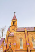 The building of the Catholic Cathedral in the Gothic style in the city of Irkutsk — Stock Photo