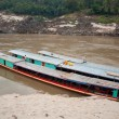 Two large boats near the pier on the Mekong River — Stock Photo