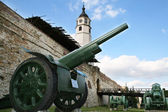 Gun of World War I at the walls of the Kalemegdan Fortress in Belgrade, Serbia — Stock Photo