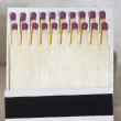 Wooden safety matches arranged in two rows of packing — Stock Photo