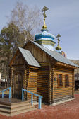 Wooden church in Holy Assumption Monastery in the city of Krasnoyarsk — Stock Photo