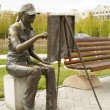 Stock Photo: Monument to artist in city park in Central Asia